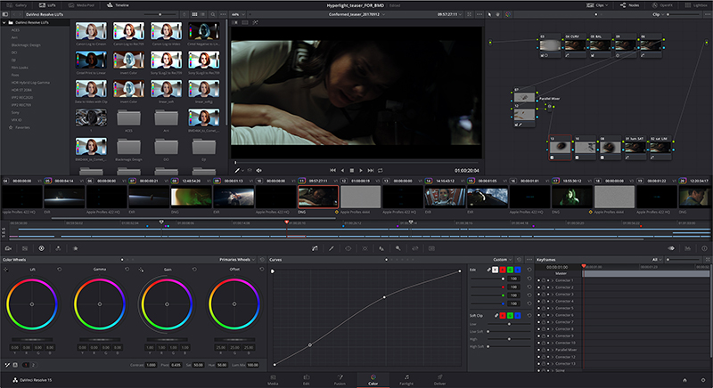 Color tab: color grading pagina met curves